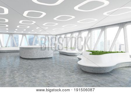Spaceship style office interior with oval ceiling lamps concrete floor and panoramic windows with triangular frames. There are original flower beds with fresh grass. Corner. 3d rendering mock up