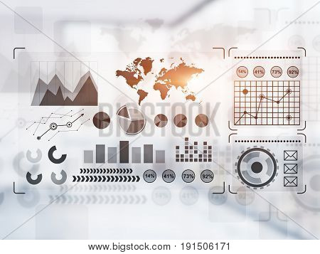 Different graphs and infographics drawn on a glassboard or presented as holograms. Office background. Concept of statistics. Toned image.