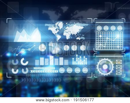 Different graphs and infographics drawn on a glassboard or presented as holograms. Concept of statistics. Toned image.