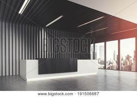 Side view of a white and black reception counter is standing in a black office lobby with wooden decoration elements. Panoramic window. Empty hall. 3d rendering mock up toned image