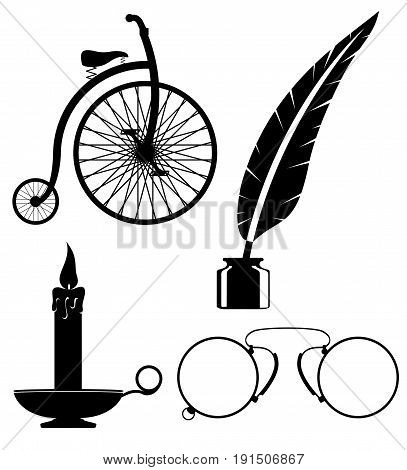 objects old retro vintage icon stock vector illustration isolated on white background