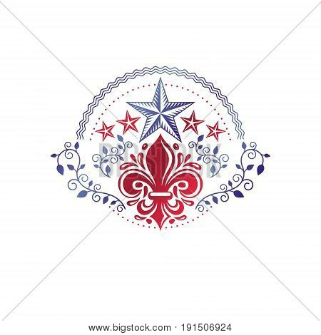 Retro vintage Insignia created with lily flower and pentagonal stars. Vector product quality idea design element Fleur-De-Lis.