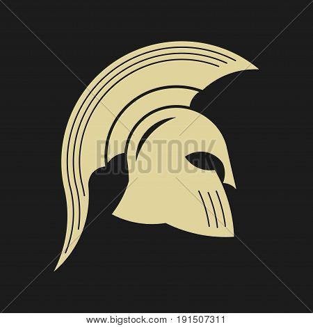icon spartan helmet silhouette greek warrior gladiator legionnaire heroic soldier fully editable vector image