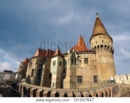 Hunedoara city Romania medieval Corvin castle landmark architecture panorama