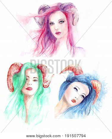 Beautiful watercolor girls with colored hair and horns, sad and melancholic