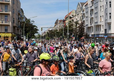Many People On Bicycles On A Bicycle Demonstration (sternfahrt) In Berlin