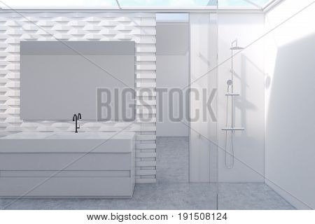 Bathroom interior with a long mirror a massive sink and a shower near a brick pattern wall with a mirror. Concept of comfort and relaxation. 3d rendering mock up toned image