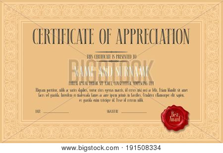 Certificate of appreciation achievement vector illustration. Template design element with bodycopy and elegant headline for diploma blank