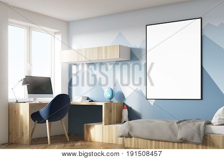 Corner of a kids room interior with a poster hanging above a bed bookshelves and a blue chair.  3d rendering mock up