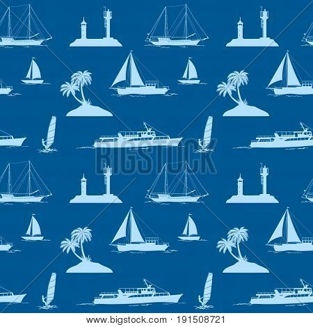 Seamless Pattern, Objects Related to Sea and Ocean, Islands with Palms Trees, Ships, Lighthouse, Sportsman Surfer, Silhouettes on Tile Background. Vector