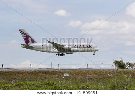 BANGKOK THAILAND - AUGUST 222015 : airbus a 380 of qatar airline approaching for landing to savarnabhumi airport qatar airline one of arab airliner leader
