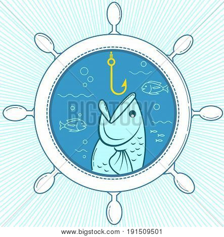 Illustration of fishing in the form of a fish on a hook in the sea rudder ship. Icon in the linear style