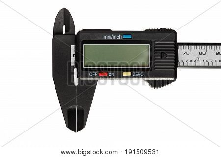 Part of a digital caliper is isolated on a white background