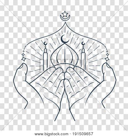 Silhouette Of Hands Praying Namaz