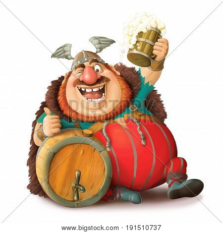 Illustration. Funny cartoon of a Viking in a helmet with a mug of beer. Sits with a barrel and shows he likes. Isolated objects.