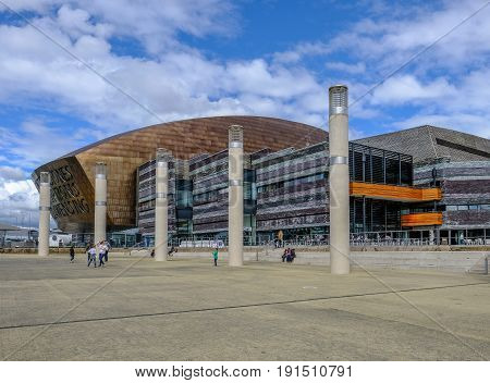 Cardiff Bay Wales - May 20 2017: Millennium Centre for Arts with square steps and people.