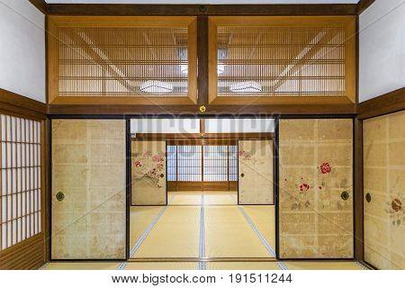 Koyasan, Japan - April 30, 2014: View of the interior of a traditional ryokan. Are a type of traditional Japanese inn that originated in the Edo period, when served travelers along Japan's roads