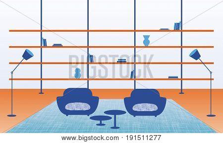 Colour vector illustration of modern home interior.