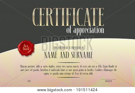 Appreciation certificate vector template illustration. Recognition blank award diploma for achievement