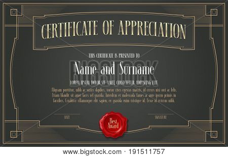 Certificate of appreciation vector design. Template illustration with retro style and ornate border for diploma of achievement