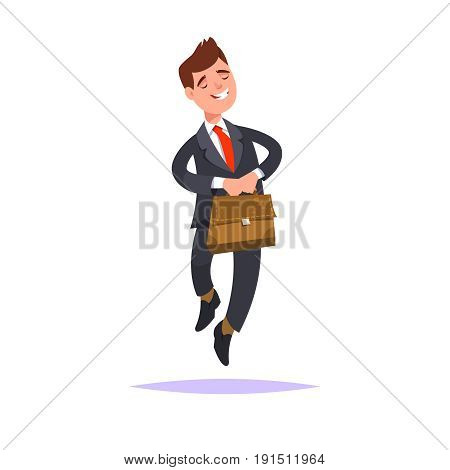 Happy young businessman with a business briefcase in hand goes favorite work. Concept of favourite business. Vector illustration in flat style