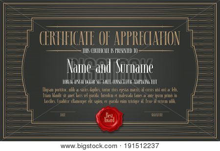Certificate of appreciation achievement vector illustration. Template design element with letterpress and elegant headline for diploma of appreciation