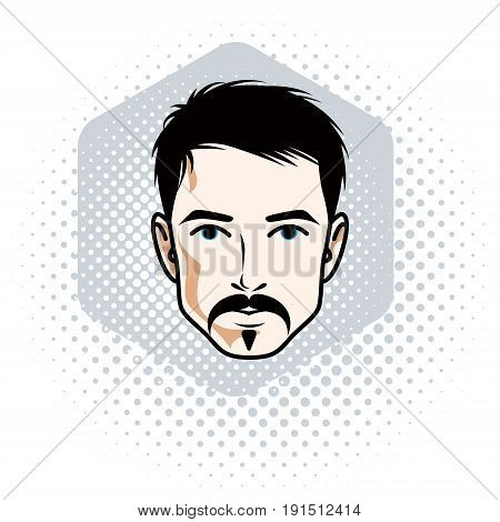 Man face human head. Vector character wearing whiskers and beard handsome brunet male.