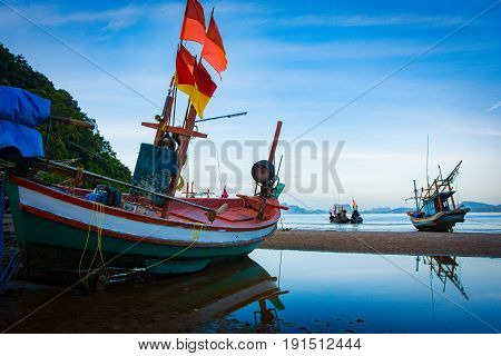 Fishing Boat On The Beach Seascape In Thailand Dark Tone