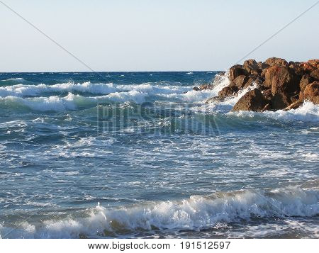 Storm On The Seashore, Waves Beating Against The Rocks