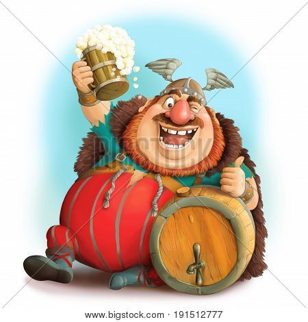 Illustration. Funny cartoon of a Viking in a helmet with a mug of beer. Sits with a barrel and shows he likes.
