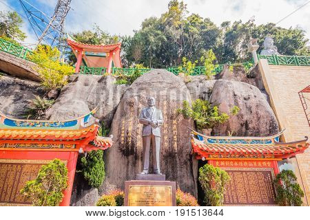 GENTING HIGHLANDS, MALAYSIA - APRIL 16, 2017: A monument of Lim Goh Tong standing in Chin Swee Caves Temple proudly for visitors to see.