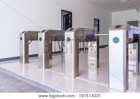 Entrance Gate Access Touch technology security system in a office building