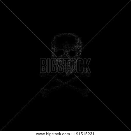 Isolated grey color image of skull on black background, crossbones vector illustration.