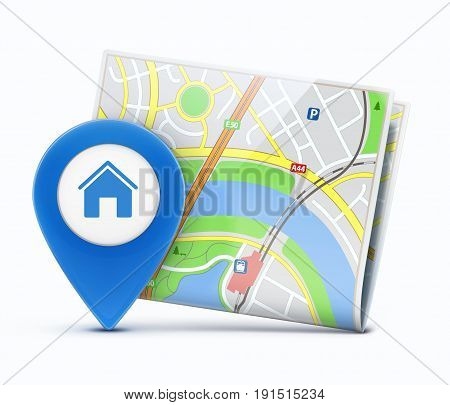 Vector illustration of global navigation concept with city map and glossy location pointer with house icon