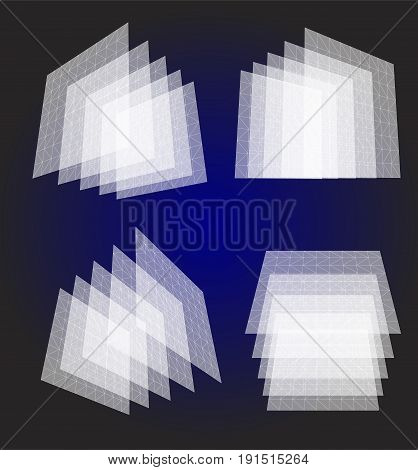 Isolated abstract white color transparent squares objects set, architectural structures collection on blue background, geometric translucent elements vector illustration.
