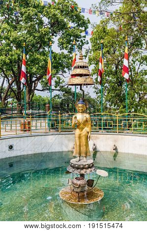 Gold statue of Buddha at Swayambhunath stupa