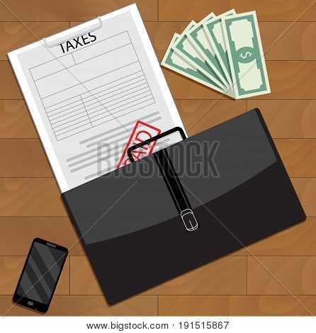 Successfully paid taxes top view. Tax return and vector form taxation accounting 1040 tax form illustration