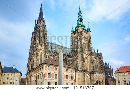 St. Vitus Cathedral in Prague This is an excellent example of Gothic architecture and is the biggest and most important church in the Czech country