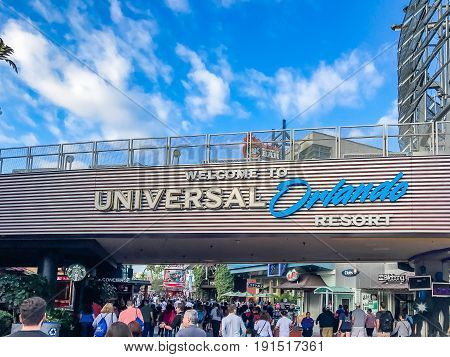 ORLANDO, USA, FLORIDA - JANUARY 05, 2017: Entrance in the Adventure Park Islands of Adventure (Universal Orlando Resort). Entrance Islands of Adventure Orlando Florida USA