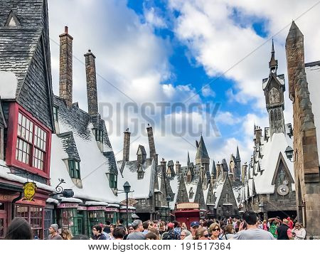 ORLANDO, USA - JANUARY 05, 2017: The Wizarding World of Harry Potter in Universal Studios Orlando Universal Studios Orlando is a theme park resort in Orlando Florida. Hogwarts Castle.