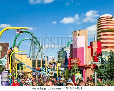 ORLANDO, USA, FLORIDA - JANUARY 05, 2017: Toon Lagoon places. Islands of Adventure. Universal Studios Orlando is a theme park resort in Orlando Florida USA.