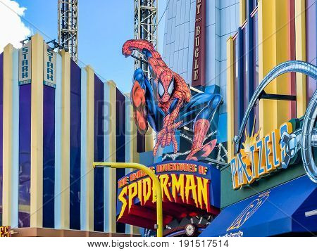 ORLANDO, USA, FLORIDA - JANUARY 05, 2017: Entrance of The Amazing Adventures of Spider Man Marvel Super Hero Island Islands of Adventure of Universal Studios Orlando.