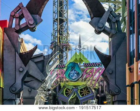 ORLANDO, USA - JANUARY 05, 2017: Marvel Super Hero Island Islands of Adventure Universal Studios Orlando is a theme park resort in Orlando Florida.