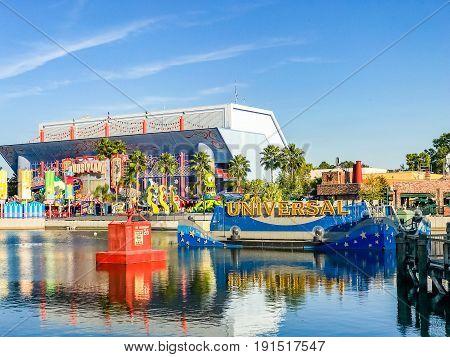 ORLANDO, USA - JANUARY 05, 2017: San Francisco architecture of Universal Studios Orlando. Universal Studios Orlando is a theme park resort in Orlando Florida.