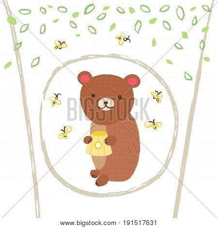 Cute bear in the hollow tree with bees and leafs on white background. Vector greeting card in cartoon style for print design of children s banners, postcards, posters, booklets.