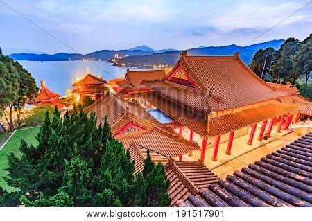Night scene of Wen Wu Temple at Sun-Moon Lake in Nantou Taiwan
