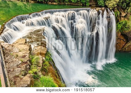 Beautiful Waterfall in Shifen Waterfall Shifen waterfall is located at Pingxi township in Taipei Taiwan Long Exposure