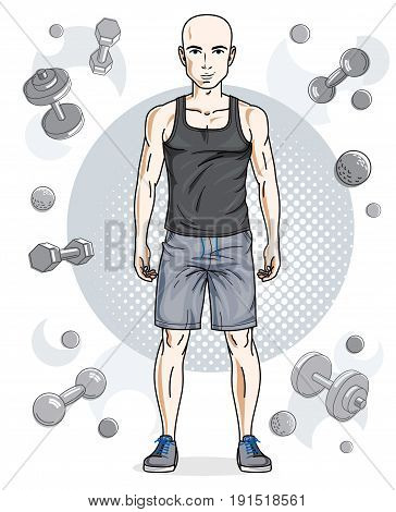 Handsome bald young man poses on simple background with dumbbells and barbells. Vector illustration of sportsman. Work out and training theme.
