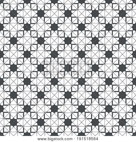 Vector seamless pattern. Modern continuously repeating geometrical texture with regular repetition stars square shapes thin crossed lines. Contemporary design