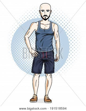 Confident athletic handsome hairless young man standing. Vector illustration of male wearing casual clothes shorts and singlet.